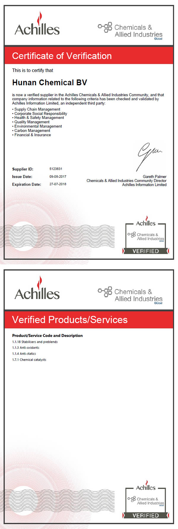 achilles certificate verification hunan chemical